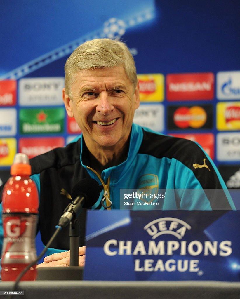 Arsenal manager Arsene Wenger attends a press conference at London Colney on February 22, 2016 in St Albans, England.