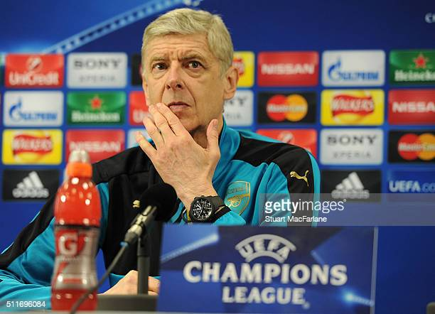 Arsenal manager Arsene Wenger attends a press conference at London Colney on February 22 2016 in St Albans England