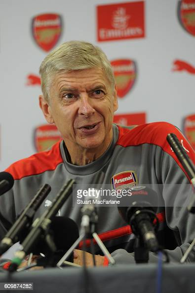 Arsenal manager Arsene Wenger attends a press conference at London Colney on September 23 2016 in St Albans England