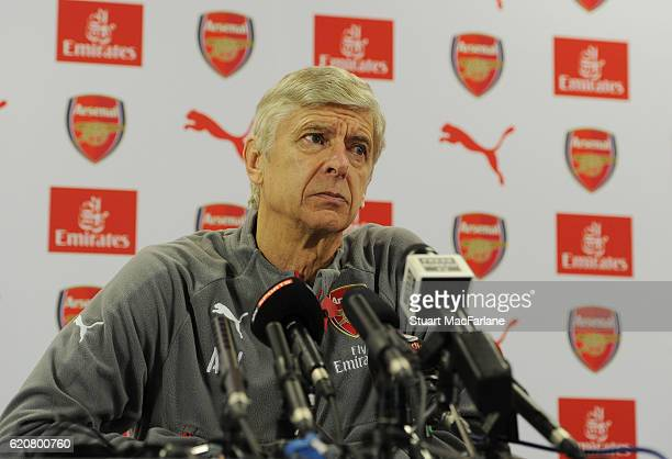 Arsenal manager Arsene Wenger attends a press conference at London Colney on November 3 2016 in St Albans England
