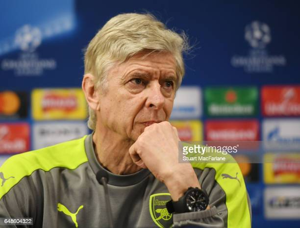 Arsenal manager Arsene Wenger attends a press conference at London Colney on March 6 2017 in St Albans England