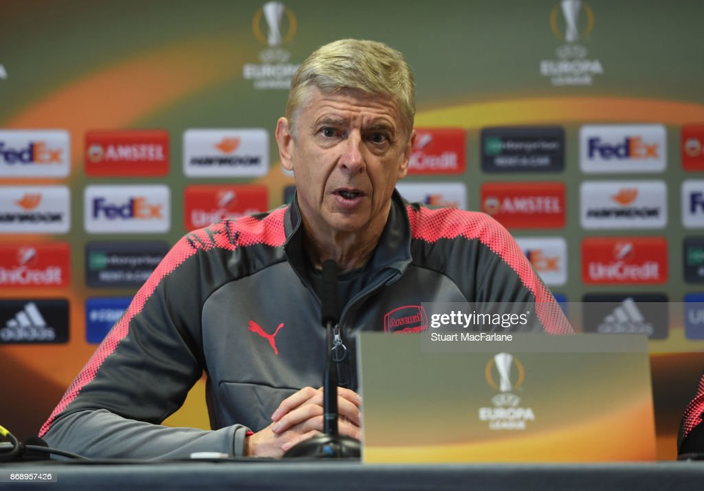 Arsenal manager Arsene Wenger attends a press conference at London Colney on November 1, 2017 in St Albans, England.