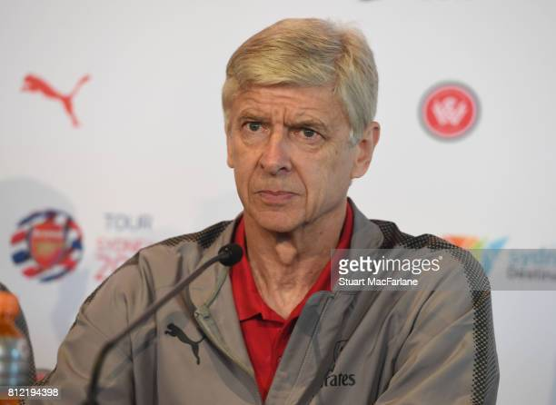 Arsenal manager Arsene Wenger attends a press conference at the Museum Of Contemporary Arts on July 11 2017 in Sydney New South Wales