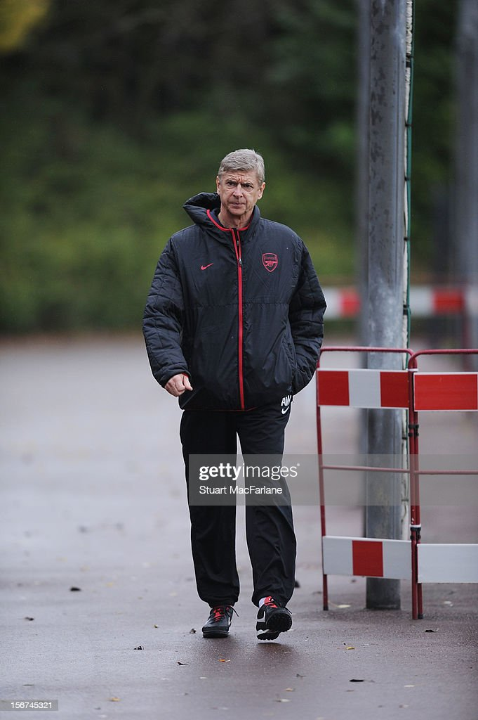 Arsenal manager <a gi-track='captionPersonalityLinkClicked' href=/galleries/search?phrase=Arsene+Wenger&family=editorial&specificpeople=171184 ng-click='$event.stopPropagation()'>Arsene Wenger</a> before a training session at London Colney on November 20, 2012 in St Albans, England.