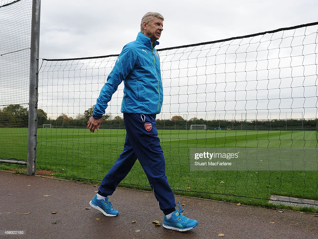 Arsenal manager Arsene Wenger before a training session at London Colney on November 3, 2014 in St Albans, England. Photo by Stuart MacFarlane/Arsenal FC via Getty Images)