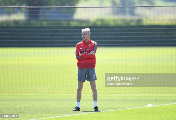 Arsenal manager Arsene Wenger before a training session at London Colney on May 26 2017 in St Albans England