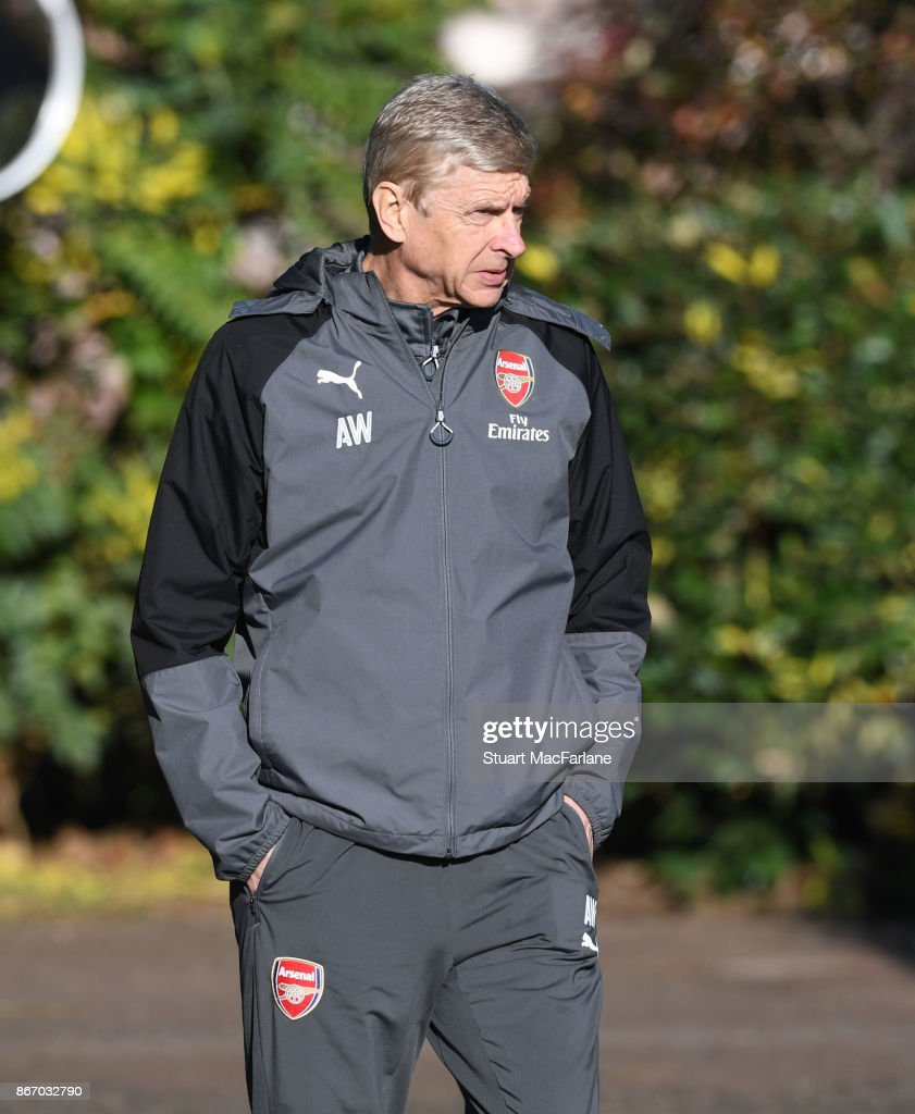 Arsenal manager Arsene Wenger before a training session at London Colney on October 27, 2017 in St Albans, England.