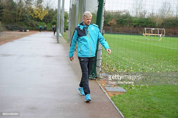 Arsenal manager Arsene Wenger before an Arsenal training session ahead of the UEFA Champions League match against Olympiacos at London Colney on...
