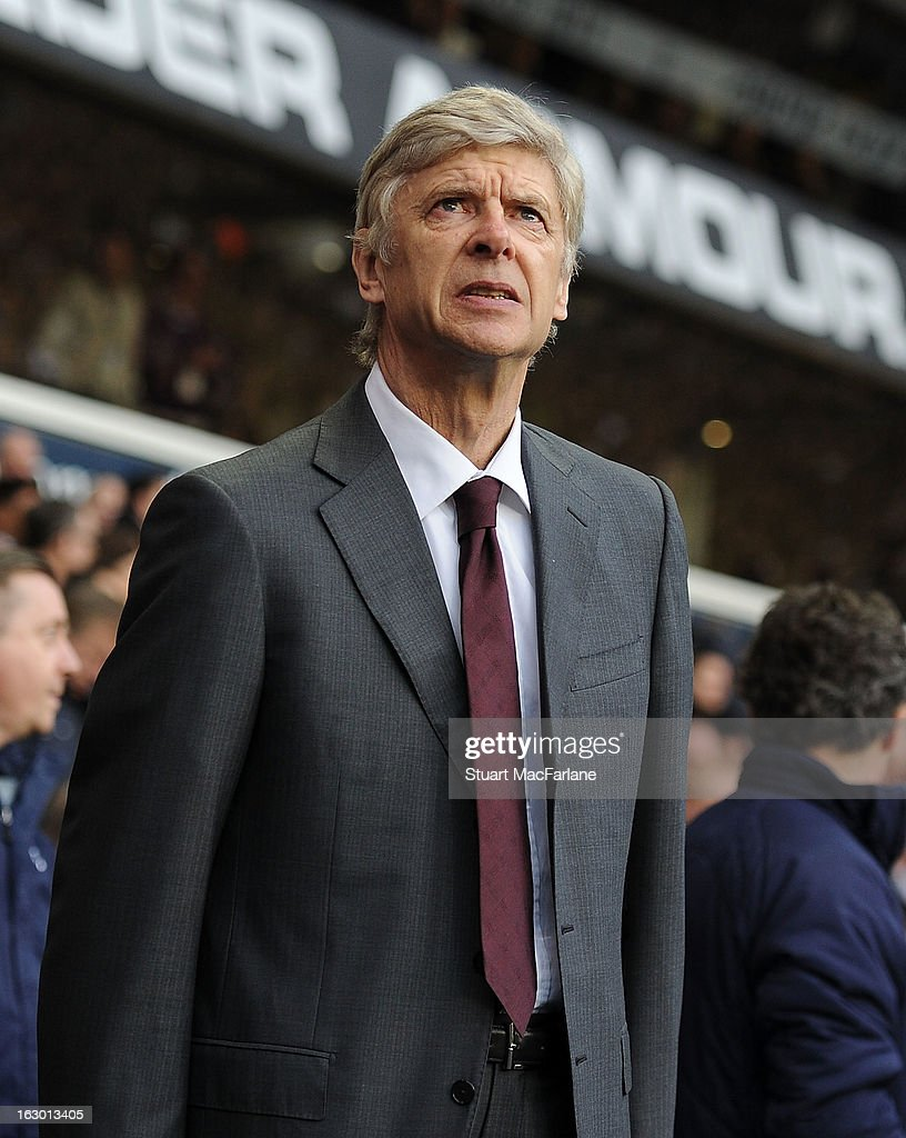 Arsenal manager <a gi-track='captionPersonalityLinkClicked' href=/galleries/search?phrase=Arsene+Wenger&family=editorial&specificpeople=171184 ng-click='$event.stopPropagation()'>Arsene Wenger</a> before the Barclays Premier League match between Tottenham Hotspur and Arsenal at White Hart Lane on March 3, 2013 in London, England.