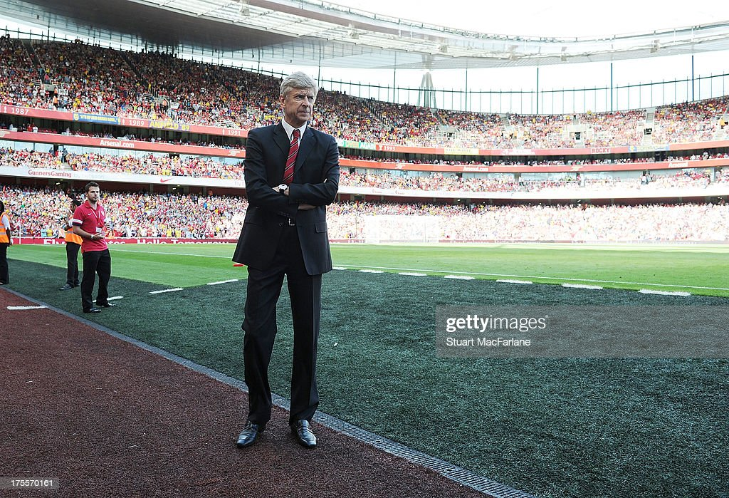 Arsenal manager Arsene Wenger before the Emirates Cup match between Arsenal and Galatasaray at the Emirates Stadium on August 04, 2013 in London, England.
