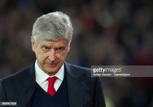 Arsenal manager Arsene Wenger before the Premier League match between Crystal Palace and Arsenal at Selhurst Park on April 10 2017 in London England