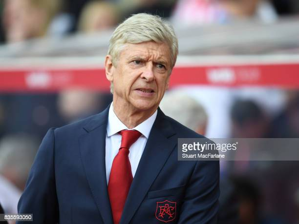 Arsenal manager Arsene Wenger before the Premier League match between Stoke City and Arsenal at Bet365 Stadium on August 19 2017 in Stoke on Trent...