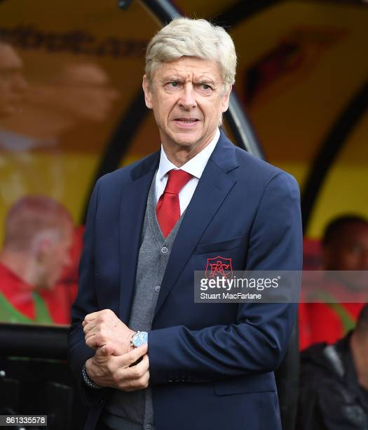Arsenal manager Arsene Wenger before the Premier League match between Watford and Arsenal at Vicarage Road on October 14 2017 in Watford England