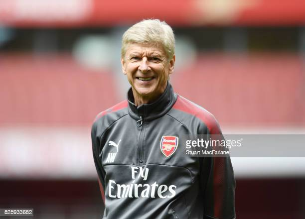 Arsenal manager Arsene Wenger during a training session at Emirates Stadium on August 3 2017 in London England