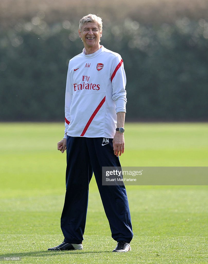 Arsenal manager, <a gi-track='captionPersonalityLinkClicked' href=/galleries/search?phrase=Arsene+Wenger&family=editorial&specificpeople=171184 ng-click='$event.stopPropagation()'>Arsene Wenger</a> during a training session at London Colney on March 30, 2012 in St Albans, England.
