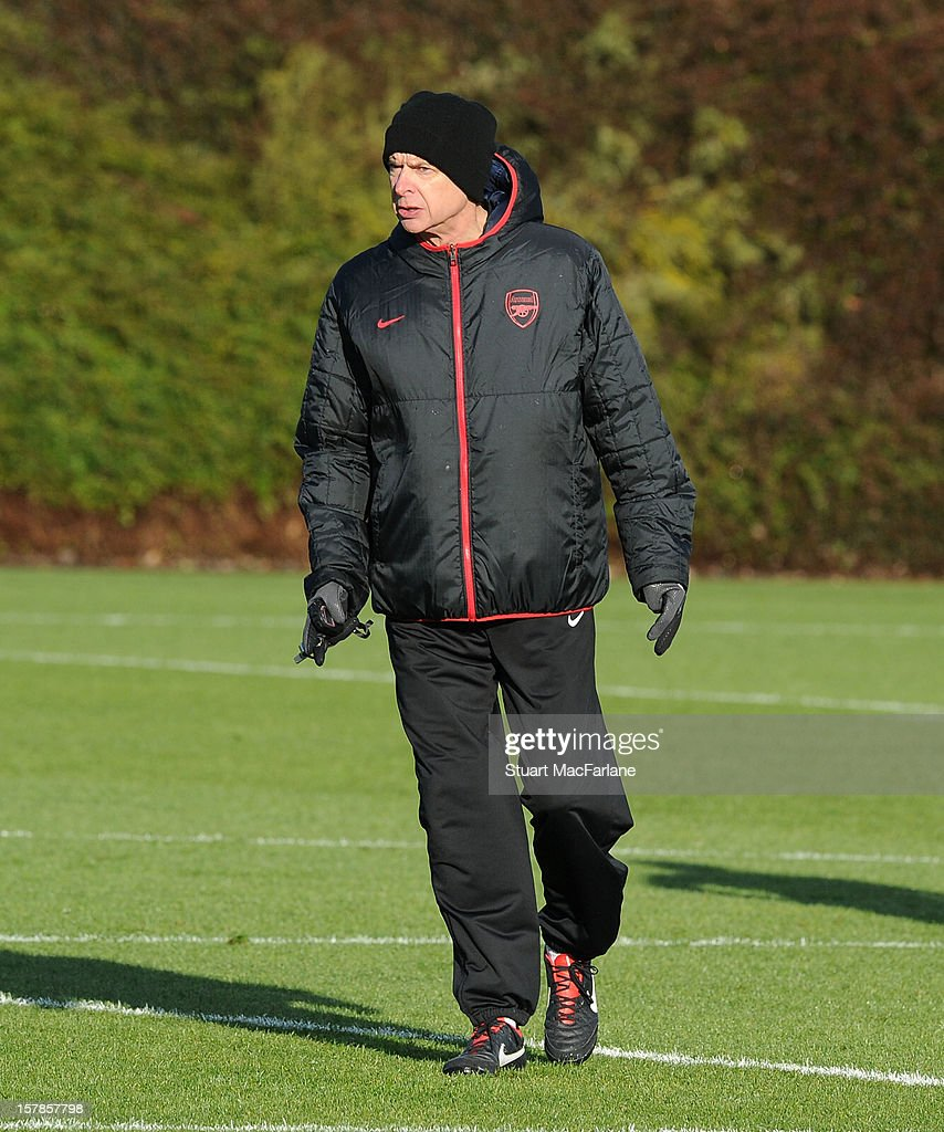 Arsenal manager, <a gi-track='captionPersonalityLinkClicked' href=/galleries/search?phrase=Arsene+Wenger&family=editorial&specificpeople=171184 ng-click='$event.stopPropagation()'>Arsene Wenger</a> during a training session at London Colney on December 07, 2012 in St Albans, England.