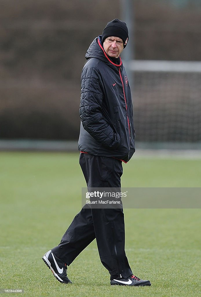 Arsenal manager Arsene Wenger during a training session at London Colney on February 22, 2013 in St Albans, England.
