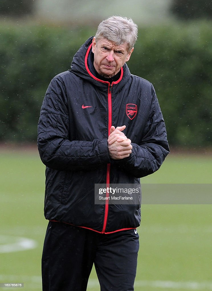 Arsenal manager Arsene Wenger during a training session at London Colney on March 15, 2013 in St Albans, England.