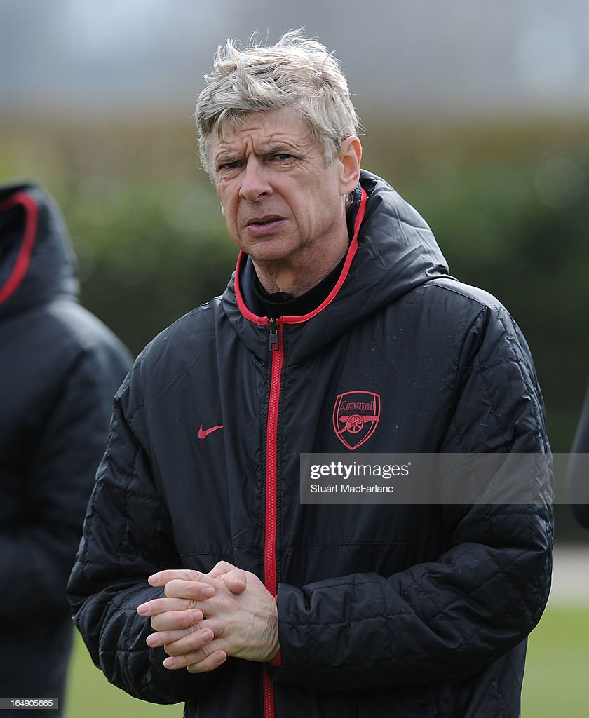 Arsenal manager Arsene Wenger during a training session at London Colney on March 29, 2013 in St Albans, England.