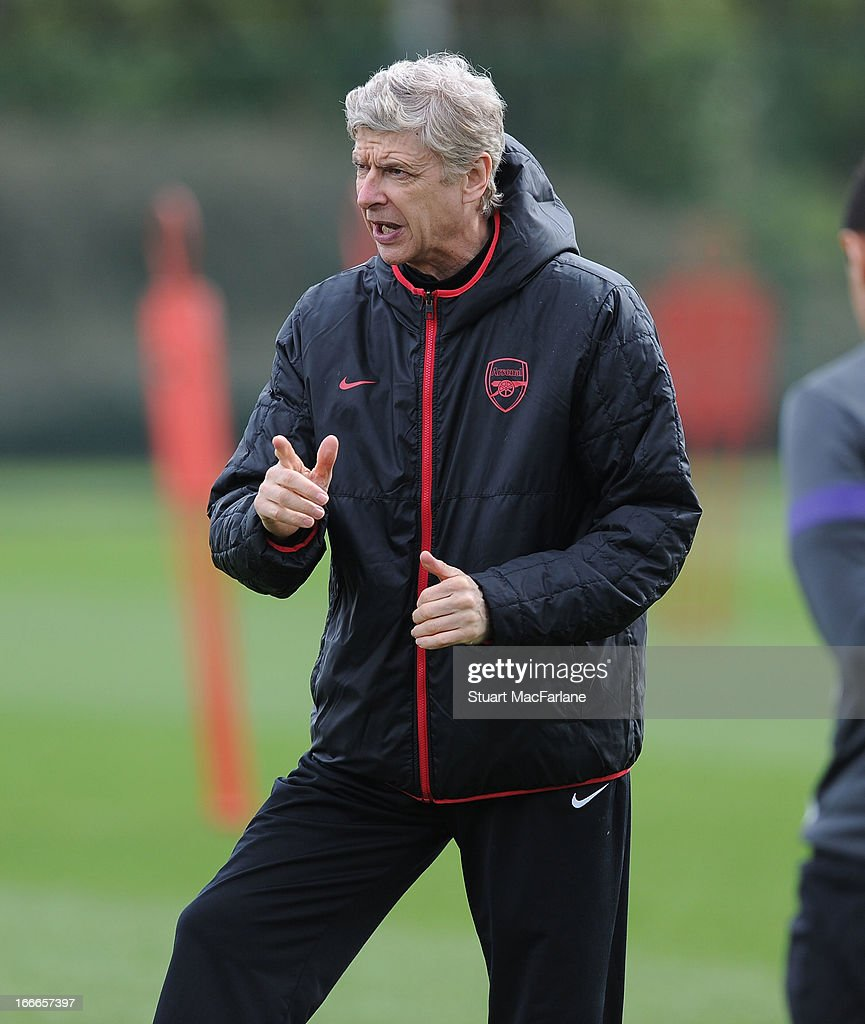 Arsenal manager Arsene Wenger during a training session at London Colney on April 15, 2013 in St Albans, England.