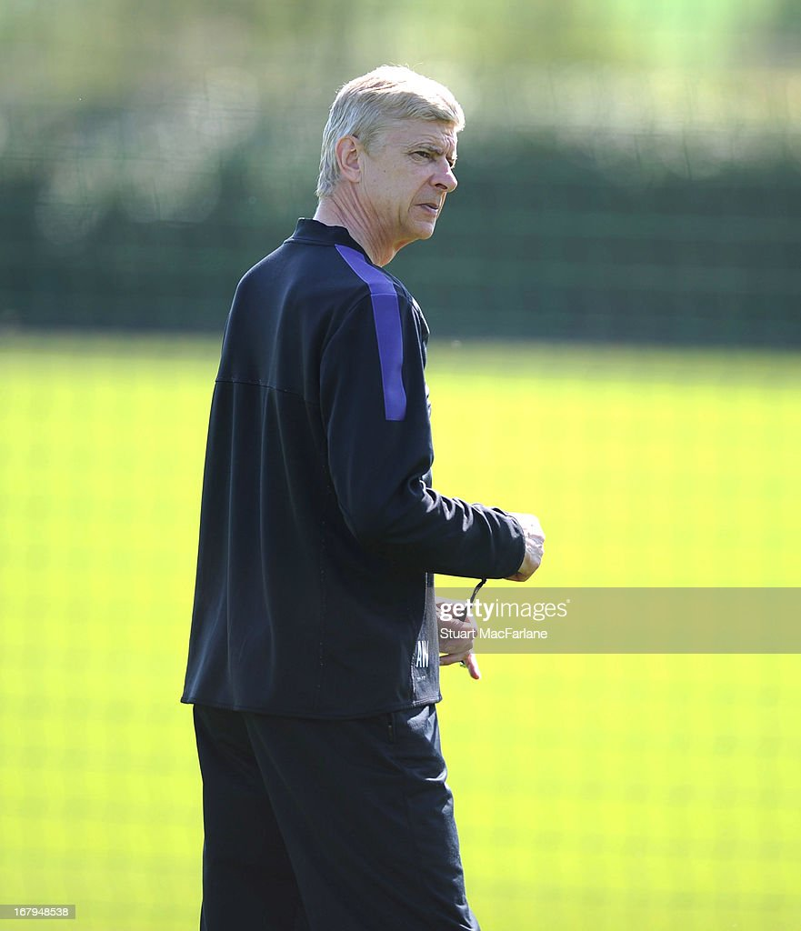 Arsenal manager Arsene Wenger during a training session at London Colney on May 03, 2013 in St Albans, England.