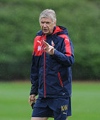 Arsenal manager Arsene Wenger during a training session at London Colney on August 26 2015 in St Albans England