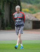 Arsenal manager Arsene Wenger during a training session at London Colney on July 15 2016 in St Albans England