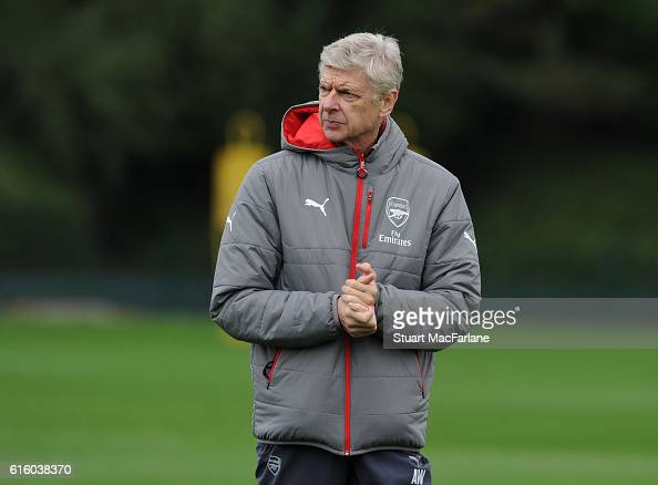 Arsenal manager Arsene Wenger during a training session at London Colney on October 21 2016 in St Albans England