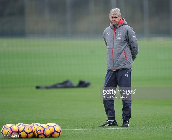 Arsenal manager Arsene Wenger during a training session at London Colney on December 2 2016 in St Albans England
