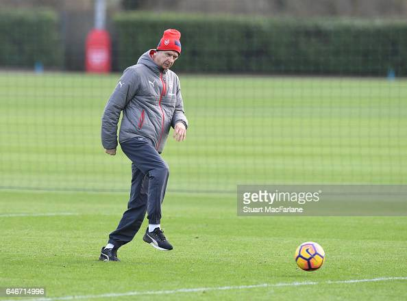 Arsenal manager Arsene Wenger during a training session at London Colney on March 1 2017 in St Albans England