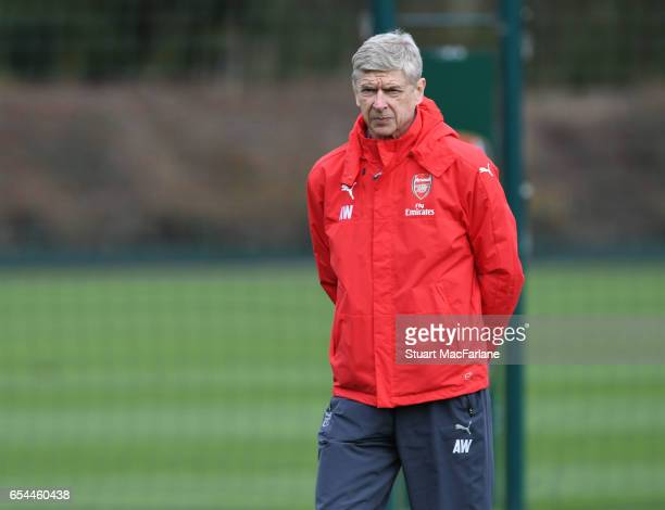 Arsenal manager Arsene Wenger during a training session at London Colney on March 17 2017 in St Albans England