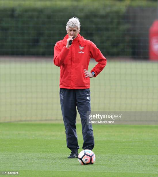Arsenal manager Arsene Wenger during a training session at London Colney on April 22 2017 in St Albans England