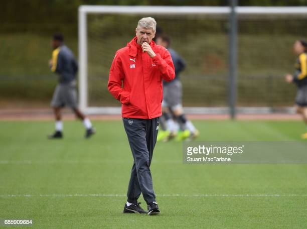 Arsenal manager Arsene Wenger during a training session at London Colney on May 20 2017 in St Albans England