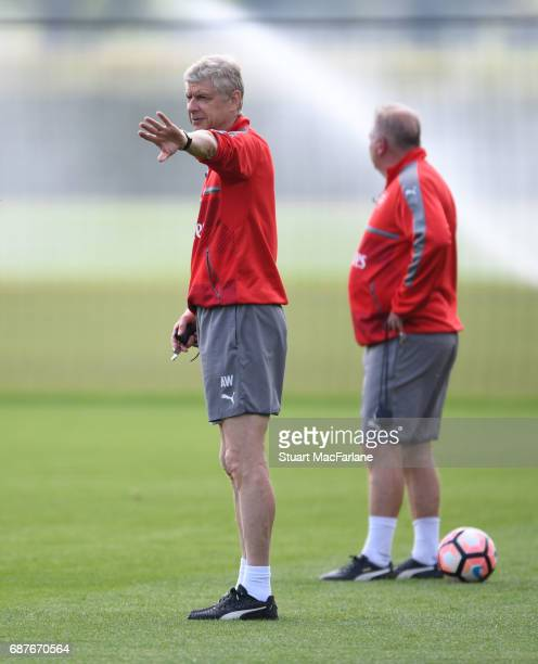 Arsenal manager Arsene Wenger during a training session at London Colney on May 24 2017 in St Albans England
