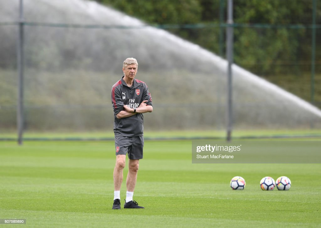 Arsenal manager Arsene Wenger during a training session at London Colney on July 4, 2017 in St Albans, England.