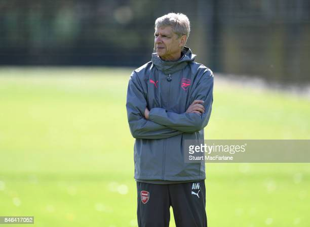 Arsenal manager Arsene Wenger during a training session at London Colney on September 13 2017 in St Albans England