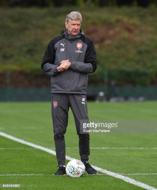 Arsenal manager Arsene Wenger during a training session at London Colney on September 19 2017 in St Albans England
