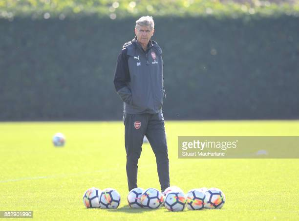 Arsenal manager Arsene Wenger during a training session at London Colney on September 24 2017 in St Albans England