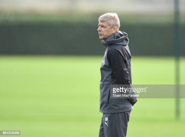 Arsenal manager Arsene Wenger during a training session at London Colney on October 21 2017 in St Albans England