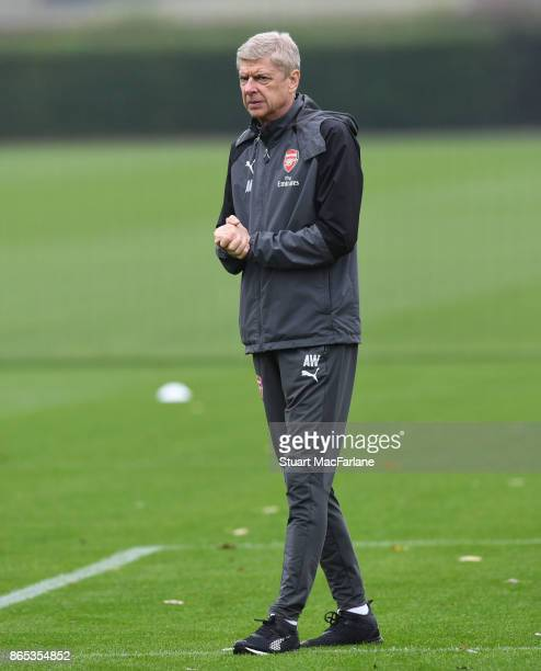 Arsenal manager Arsene Wenger during a training session at London Colney on October 23 2017 in St Albans England