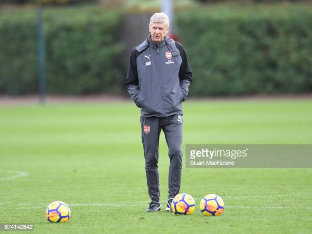 Arsenal manager Arsene Wenger during a training session at London Colney on November 14 2017 in St Albans England