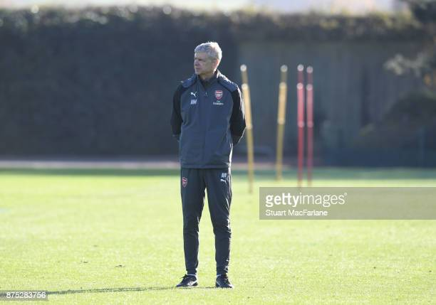 Arsenal manager Arsene Wenger during a training session at London Colney on November 17 2017 in St Albans England