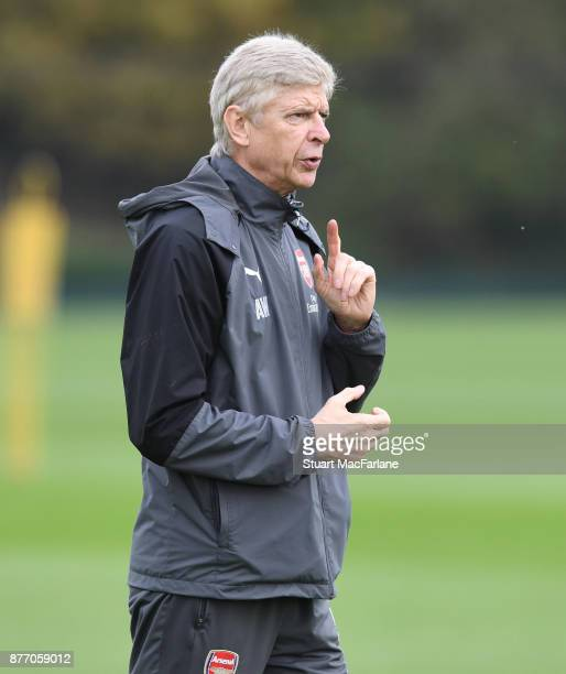Arsenal manager Arsene Wenger during a training session at London Colney on November 21 2017 in St Albans England