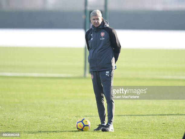 Arsenal manager Arsene Wenger during a training session at London Colney on December 12 2017 in St Albans England
