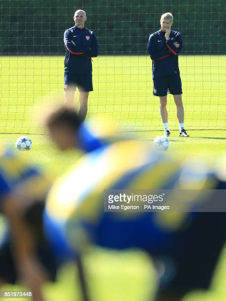 Arsenal manager Arsene Wenger during a training session at London Colney St Albans