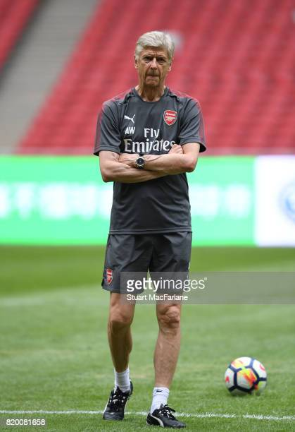 Arsenal manager Arsene Wenger during a training session at the Birds Nest stadium on July 21 2017 in Beijing China
