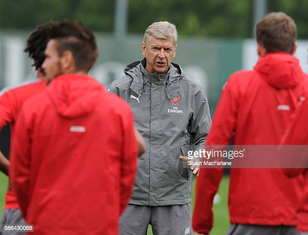 Arsenal manager Arsene Wenger during a training session at the Gothia Park Academy on August 6 2016 in Gothenburg Sweden