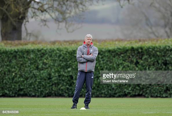 Arsenal manager Arsene Wenger during a training session on February 19 2017 in St Albans England