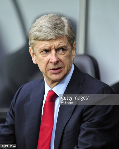 Arsenal manager Arsene Wenger during the Barclays Premier League match at the Liberty Stadium Swansea