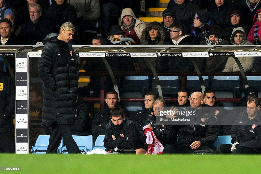 Arsenal manager <a gi-track='captionPersonalityLinkClicked' href=/galleries/search?phrase=Arsene+Wenger&family=editorial&specificpeople=171184 ng-click='$event.stopPropagation()'>Arsene Wenger</a> during the Barclays Premier League match between Aston Villa and Arsenal at Villa Park on November 24, 2012 in Birmingham, England.
